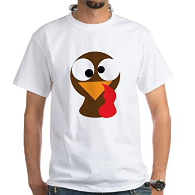 3d9d062c CafePress Funny Turkey Thanksgiving Face White T-Shirt - 100% Cotton T-Shirt
