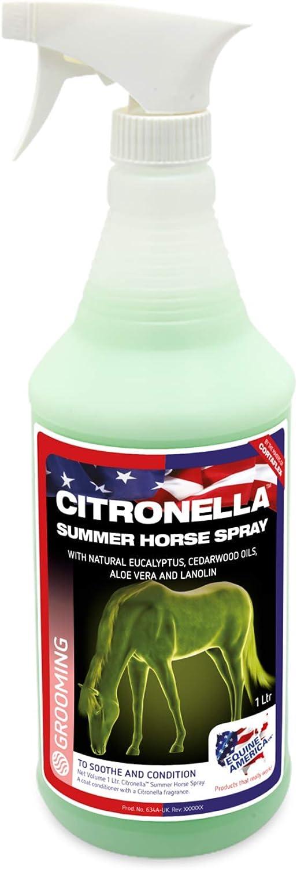 Equine America Citronella Summer Horse Spray | Spray de aseo natural premium | Repelente de moscas y insectos | 1 litro