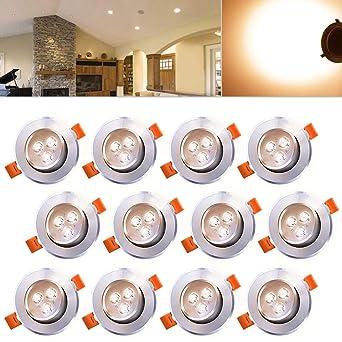 Hengda 12 Stück 3W LED Einbaustrahler Set 210 Lumen Warmweiß  Einbauleuchten,für Badezimmer Küche Flur