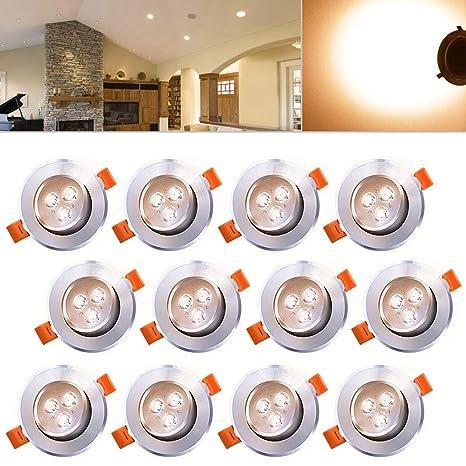 Hengda® 12 x 3W blanco cálido Alu-matt LED luces de techo empotradas SMD ahorro de energía luces de techo proyectores empotrados Set 230V lámparas de ...