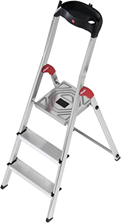 Hailo L60 Escalera de aluminio con 3 peldaños y bandeja superior multifuncional, Negro y plateado: Amazon.es: Hogar