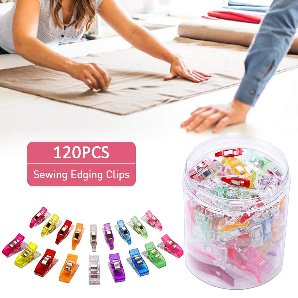 Funarrow Multipurpose Sewing Clips 4 Sizes Plastic Quilting Clips Sewing Accessories Perfect for A Variety of Crafts Sewing Safety Clips Assorted Colors Pack of 120