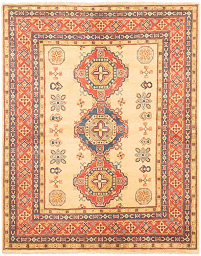 """eCarpet Gallery Area Rug for Living Room, Bedroom   Hand-Knotted   100% Wool   Finest Gazni Bordered Ivory Rug 4'1"""" x 6'4""""   305703 from eCarpet Gallery"""