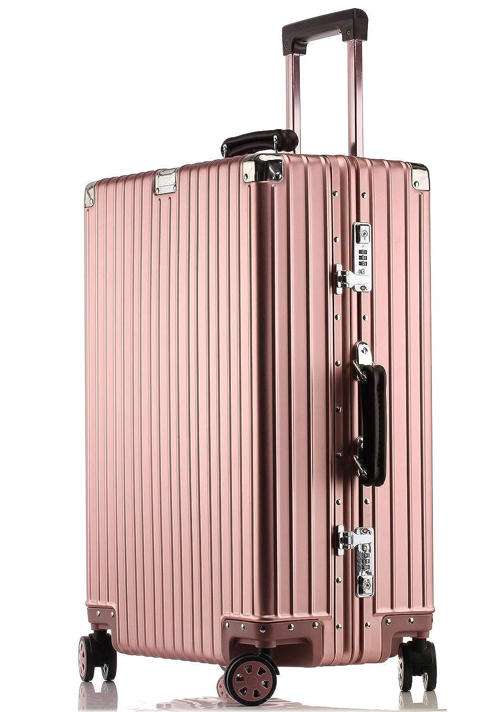 JINXIANGMEI アルミニウムマグネシウム合金スーツケース 機内持ち込みスーツケース 預け入れスーツケースTSAロック キャスター 海外旅行5色4サイズ1802 S ローズゴールド B07K4927KX