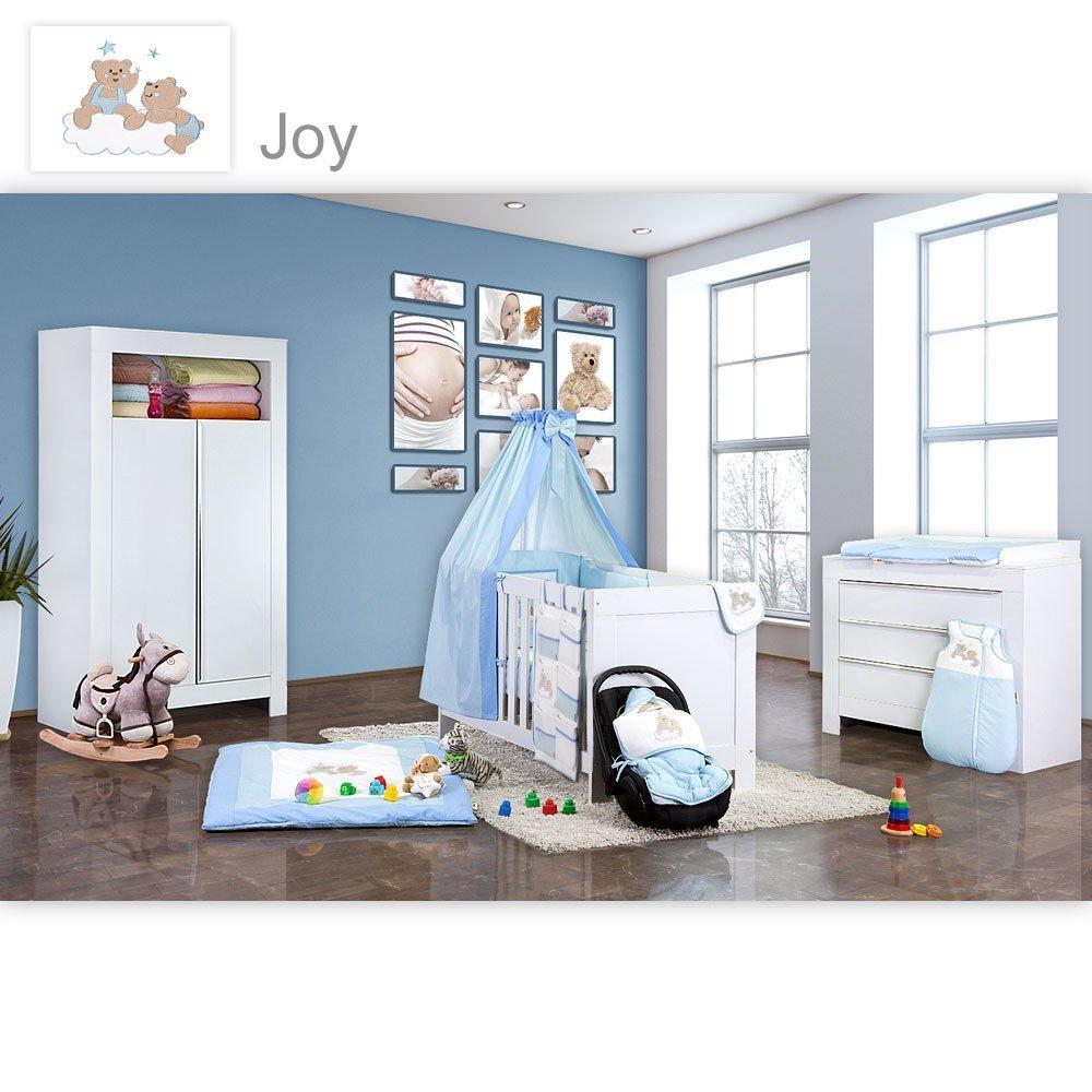 Babyzimmer Felix in weiss 19 tlg. mit 2 türigem Kl + Joy in blau