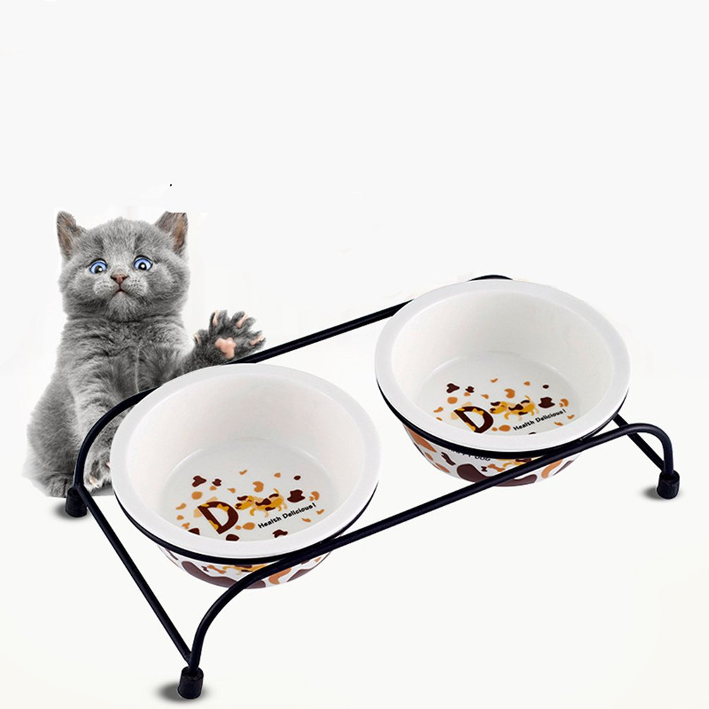 Be Good Pet Double Diner Feeder with Sturdy Non-Skid Elevated Iron Stand Wear-Resistant Dog Water Food Ceramic Double Bowls Set Perfect for Cat Dogs Puppies S by Be Good (Image #2)