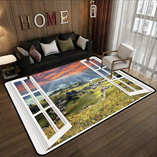 Indoor Outdoor Rugs,Cityscape,European Decor Mountain Houses Village Cottages Farmhouse Window Panorama View Personalized Alternative Primit 35