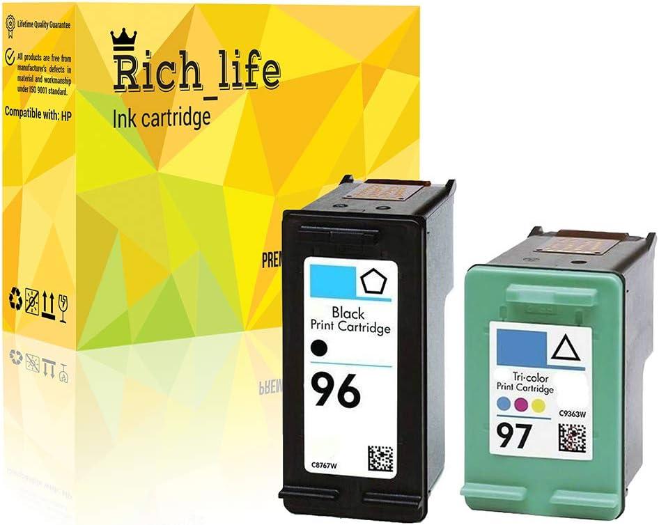 Rich_life 2 Pack Remanufactured Ink Cartridge Replacement for HP 96 For HP96 C8767WN For HP 97 For HP97 C9363WN BK/CL (1 Black, 1 Tri-Color) 2 Pack