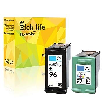 Rich_life Cartucho de Tinta remanufacturado de Repuesto para HP 96 ...