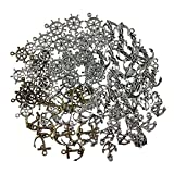 CSPRING 100PCS Assorted DIY Antique Silver and Bronze Anchor Charms Pendant for Sailor Navy Craft Jewelry Making Accessory