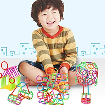 WP Kids Construction Blocks Building Sticks Toy Fun 3D DIY Construction Interlocking Stick Playing Stacking Bricks 120 Pcs