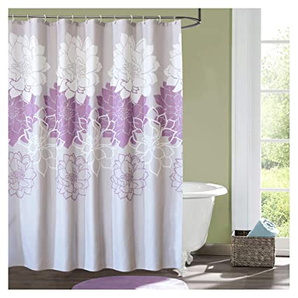 Kingmily Floral Fabric Shower Curtain Extra Long Flower Gray Purple White 72