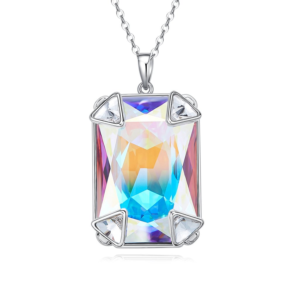 CDE Women's Necklace, Cube Crystal Pendant Necklaces Fashion Jewelry Gifts for Women Mom