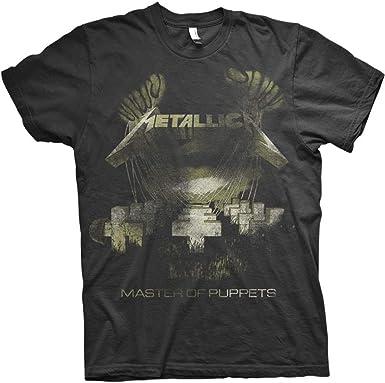 Metallica Men's Master of Puppets Distressed Slim Fit T-Shirt Black