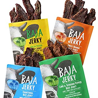 Baja Beef Jerky Sampler Pack   Gluten Free Craft Jerky, 25g Protein, Low Calorie, 100% All-Natural Beef, No Nitrates   4 pack 2.5 Oz Bags