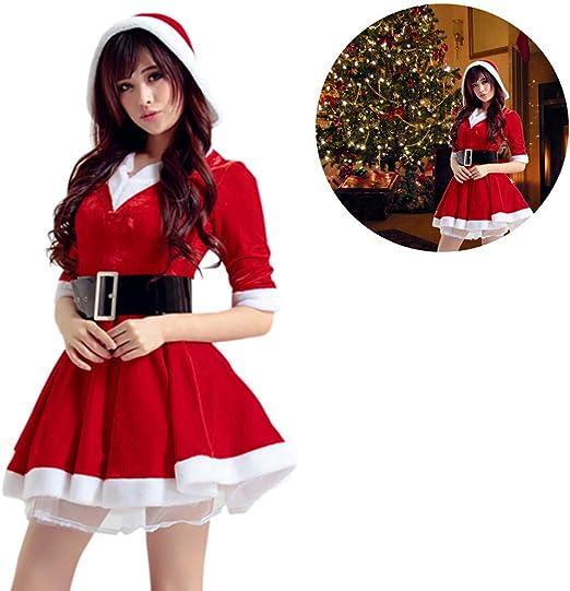 Destinely Disfraz Miss Santa Navidad Vestido Capucha Cosplay Traje ...