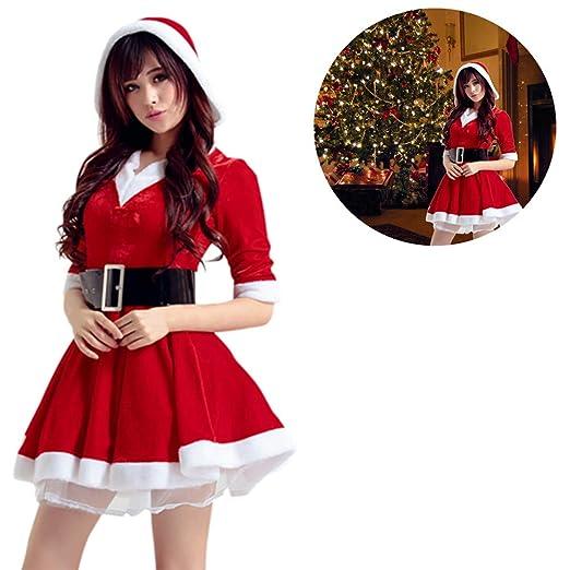 Destinely Disfraz Miss Santa Navidad Vestido Capucha Cosplay Traje de Terciopelo para Mujer Chica Sra. Mamá Noel Tutú Rojo con Cinturón Ropa de Fiesta ...