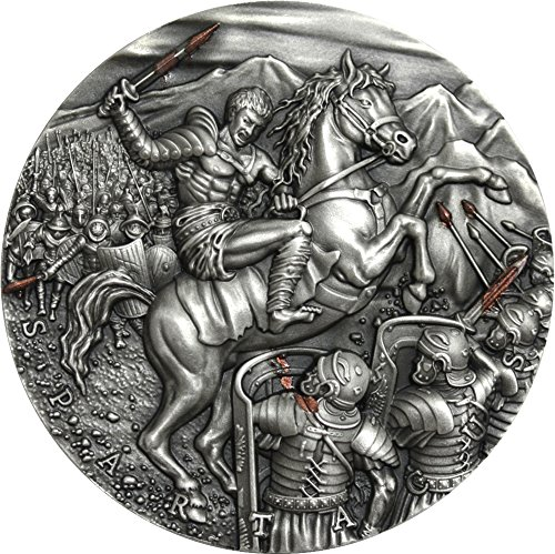 2017 NU Great Commanders SPARTACUS Slave Revolt 2 Oz Silver Coin 5$ Niue 2017 Antique Finish