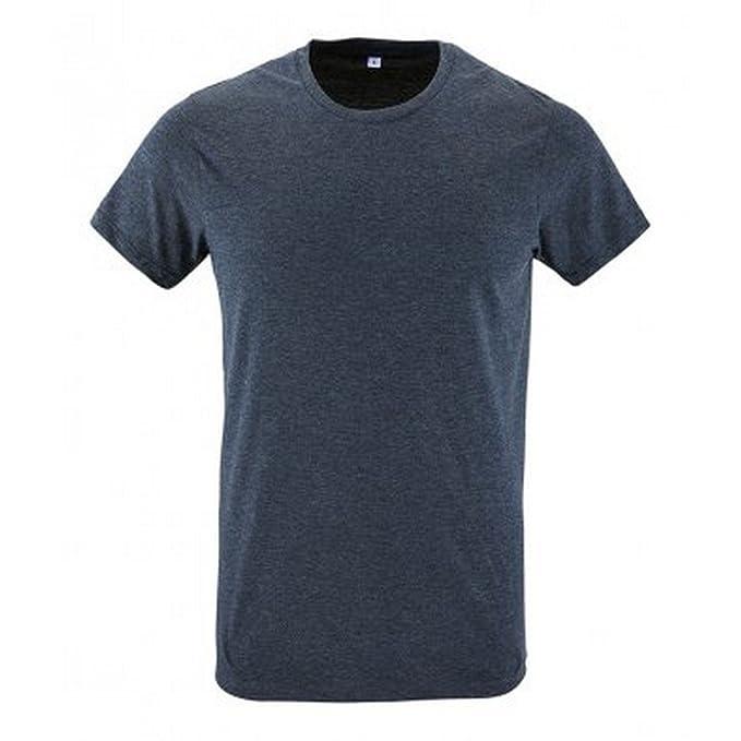 Sols Herren Regent Slim Fit T-Shirt, Kurzarm (XS) (Denim Meliert