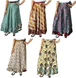 Maple Clothing Wholesale 5 Pcs Lot Two Layers Women's Indian Sari Magic Wrap Around Long Skirt
