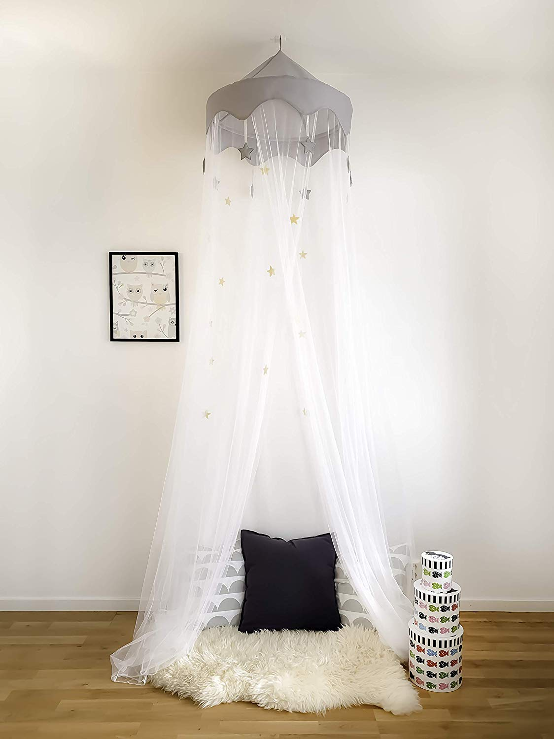 Nomad Nets Luxury Bed Canopy - Glowing Stars - Fits All Cribs and Beds - White Net - Gray Top-Crown - Hanging Above Bed Mosquito Net with Easy Installation ... : luxury canopy - afamca.org
