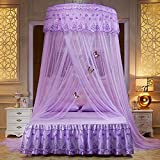 WLHOPE Mosquito Net Canopy Ceiling Stylish Lace Princess Butterfly Dome Mosquito Net Diameter 1.2M Bed Cotton Cloth Tent Baby Kids Indoor Reading Play Games House Anti-Mosquito Insect Netting (Purple)