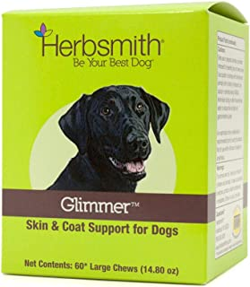 product image for Herbsmith Glimmer - Dog Healthy Skin and Coat + Dog Treatment for Dry Itchy Skin - Omega-3 Supplement for Dogs