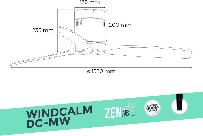 Ventilatore da soffitto funzione inverno ultra silenzioso bianco /& legno scuro IKOHS WINDCALM DC-MW estate