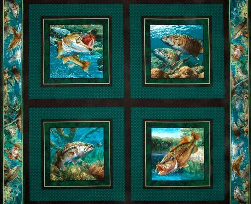 STILLWATER BASS Game Fish Quilt Block Fabric Panel (Great for Quilting, Sewing, Craft Projects, a Quilt, Throw Pillows & More) 35 X 44 Wide Springs Creative