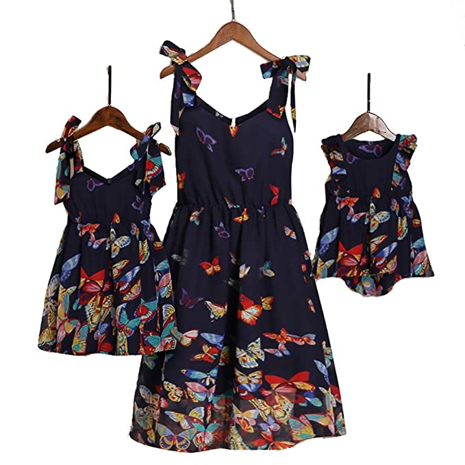 8cecf075a6f2 PopReal Mommy and Me Floral Printed Sleeveless Bowknot Chiffon Beach Romper  Family Match Dress