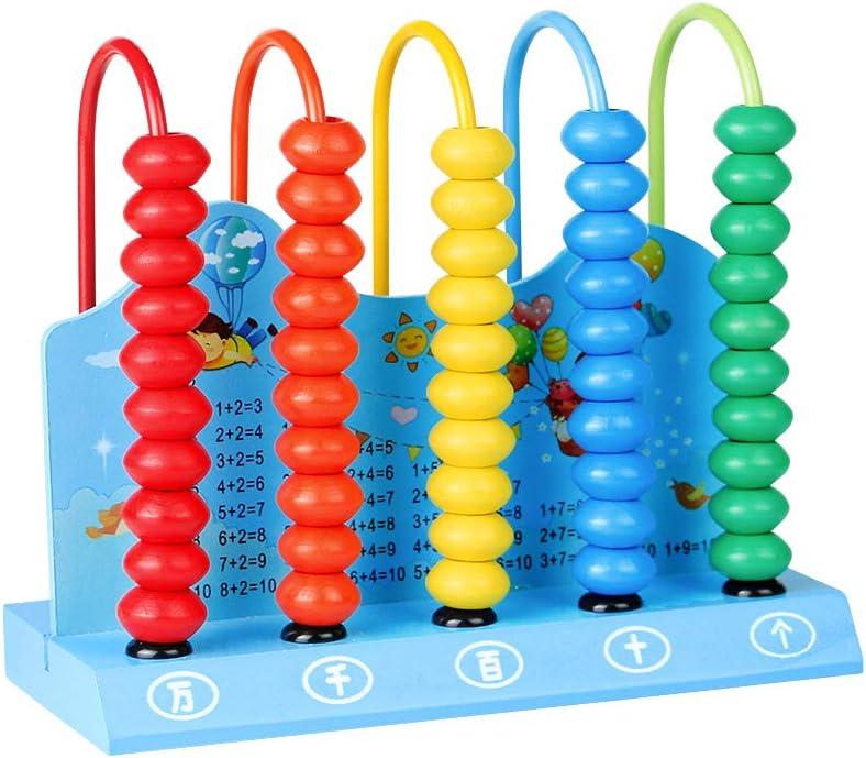 Ábaco Infantil de Madera Montessori Juguetes Educativos Abaco Mini Juego Matematicas Niños Ábacos Juguetes Aprendizaje para Niños y Niñas 2 3 4 Años Color Aleatorio