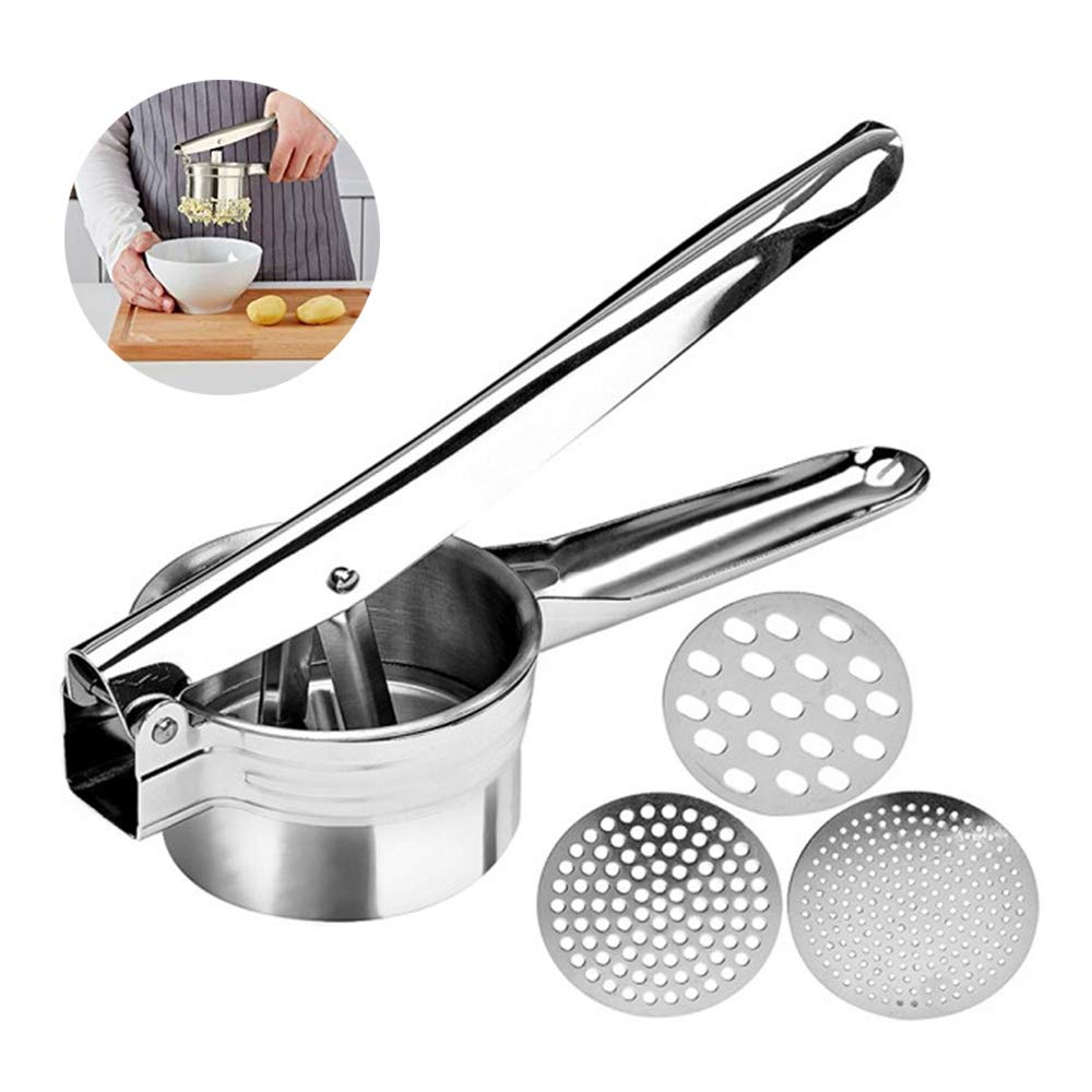 Professional Stainless Steel Potato Ricer, Potato Masher with 3 Ricing Discs for Coarse & Fine Ricing-Best Potato Press by Zinnor