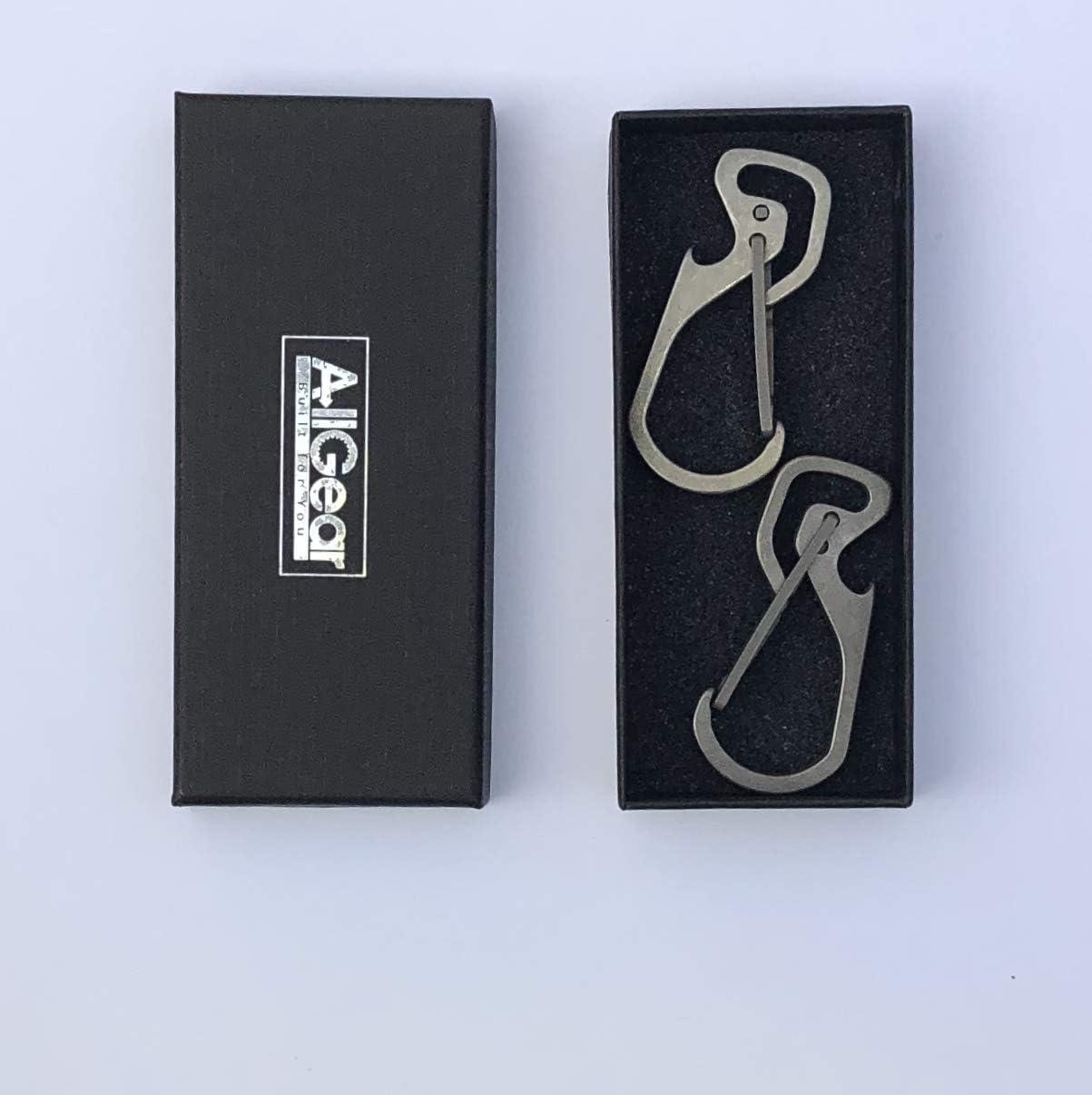 AllGear 2-Pack, Titanium Carabiner Key Chain Holder, Bottle Opener with Quick Release Multi-Tool