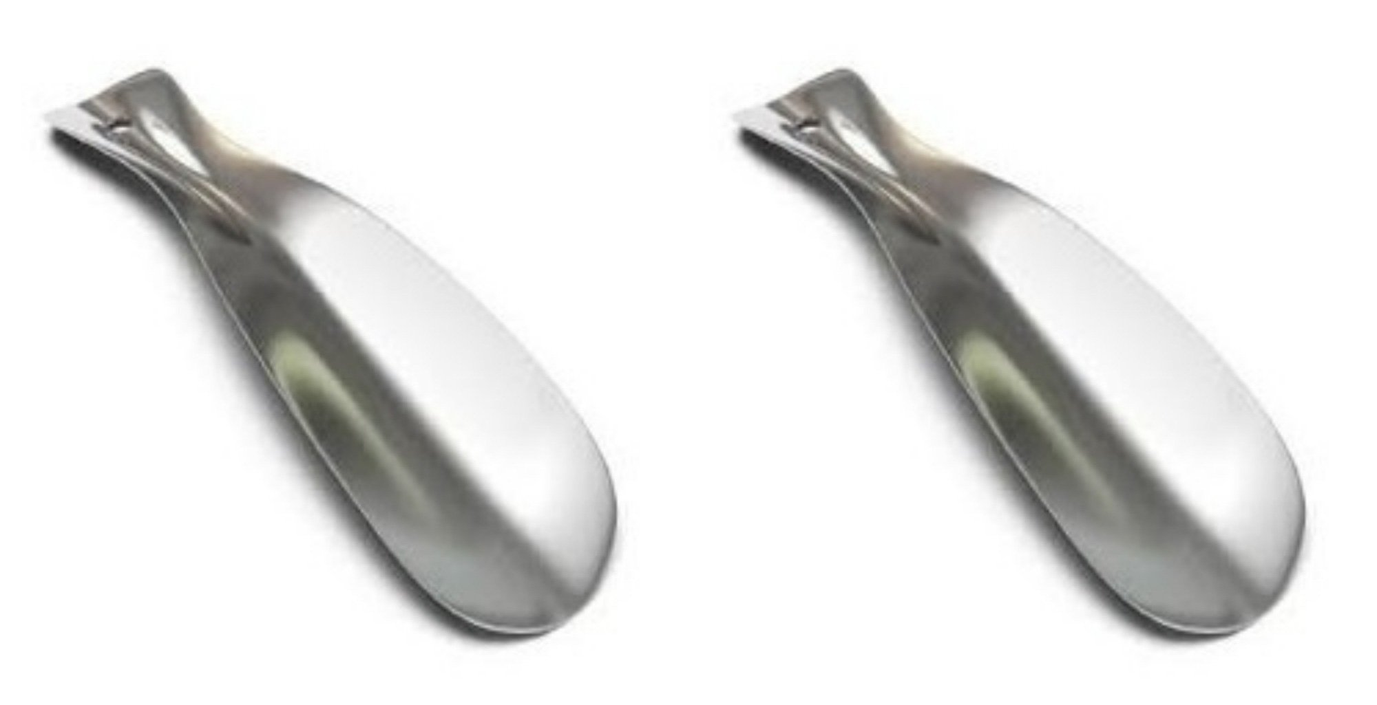 2 Pack Stainless Steel Shoe Horns Professional Grade Premium Polished Chrome Silver
