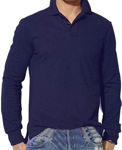 Wawer Casual Hombres Camisa, Hombre tee Slim Fit Mango Largo Estampado chemisestee Camiseta Sólido Plain Polo Blusa, Azul Marino, S: Amazon.es: Deportes y aire libre