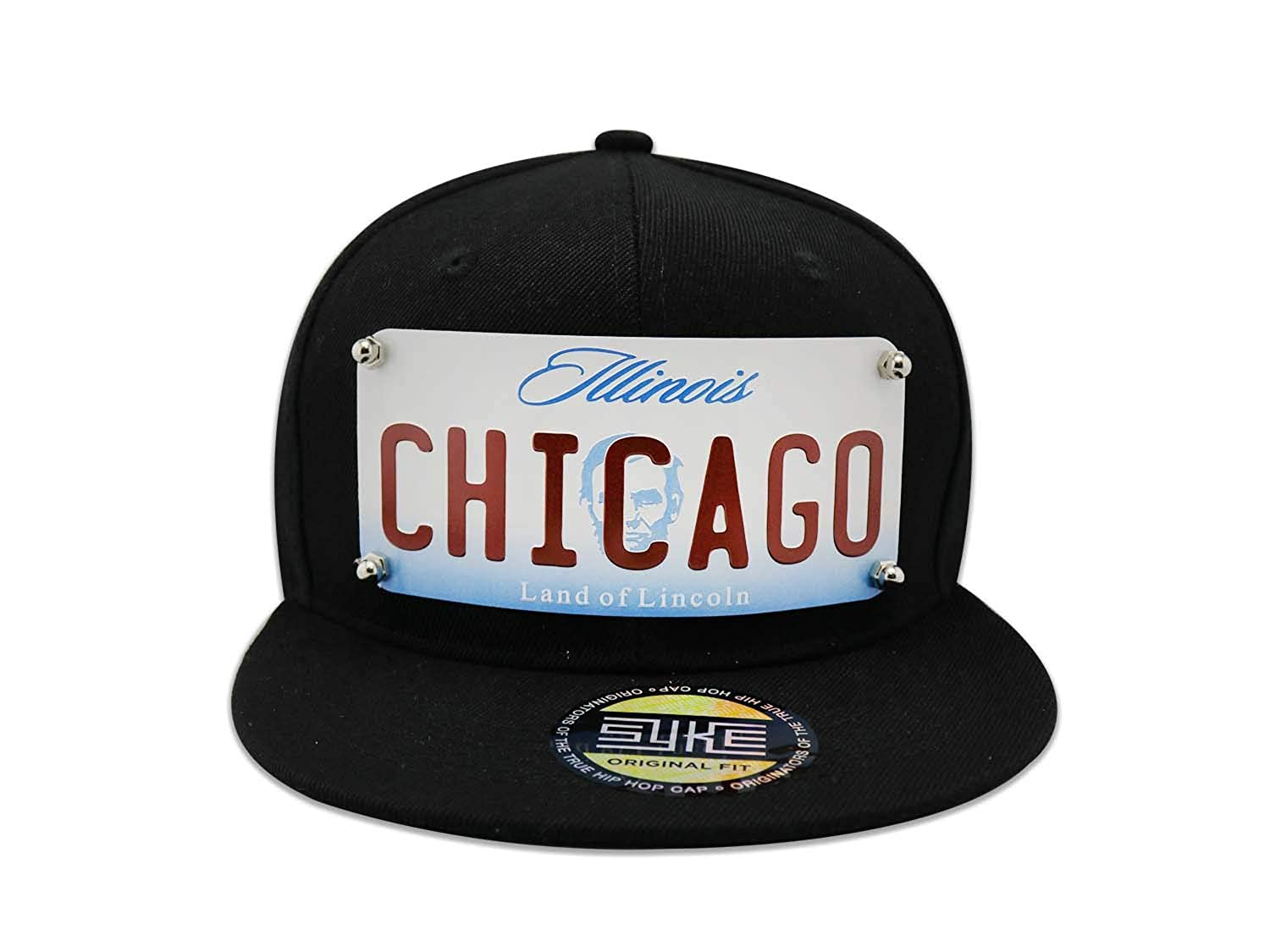 df5f3dd988f Men s Snapback Black Hat Custom Metal Plate Chicago (Black) at Amazon Men s  Clothing store