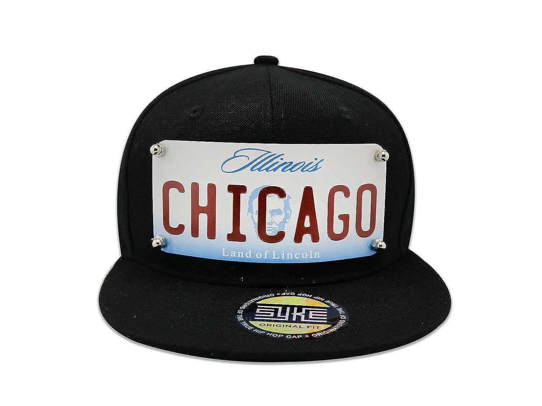 b68d1fa2 Men's Snapback Black Hat Custom Metal Plate Chicago (Black) at ...