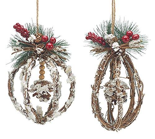 Woodland Natural Wood (Natural Woodland Wood Hanging Christmas Ornament Set of 2)