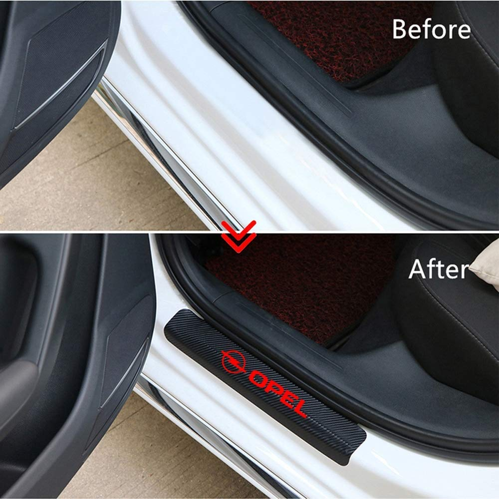 3.2cm LAUTO 4 Piezas de Fibra de Carbono antiara/ñazos para Puerta de Coche Pegatina de umbral de Placa de Desgaste Panel Protector de Paso para la mayor/ía de los Modelos de Opel,Rojo,46.5