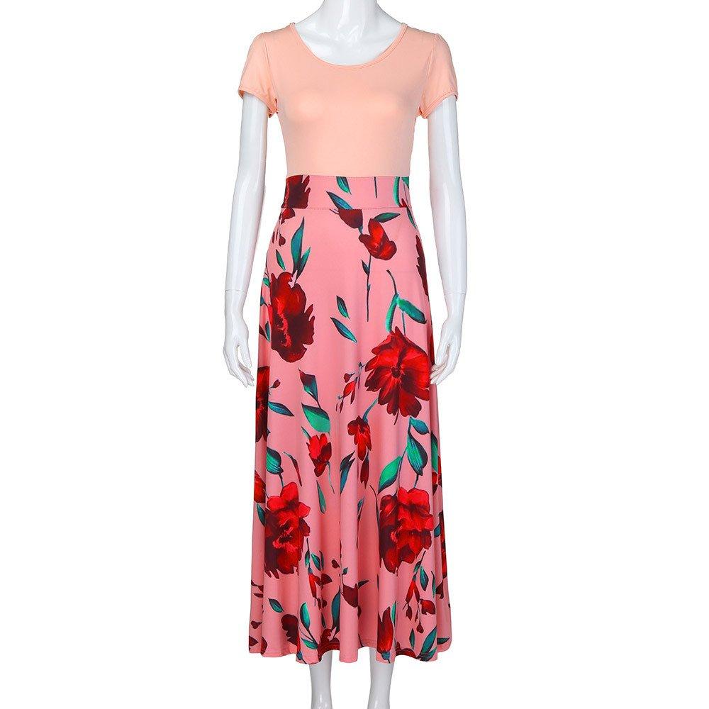iLUGU Womens Maxi Dress O-Neck Short Sleeve Floral Printed Casual Swing Long Maxi Dress