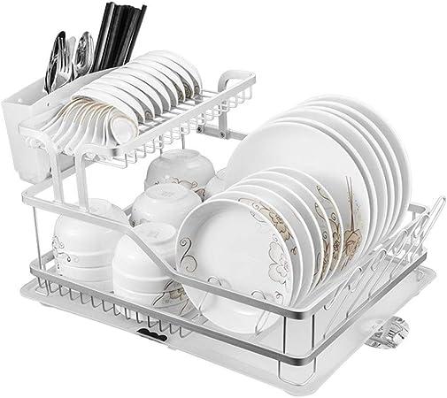 Marco de acero for cocina, rejilla for secar platos, bandeja de cubiertos y escurridor extraíbles, con soporte de cubertería de almacenamiento grande, bandeja de desagüe de porta utensilios for utensi: Amazon.es: Hogar