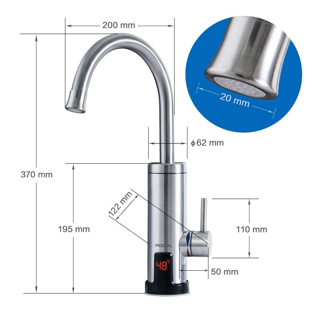 PUDIN Edelstahl Elektrische Wasserhahn LED Temperaturanzeige Küchenarmatur
