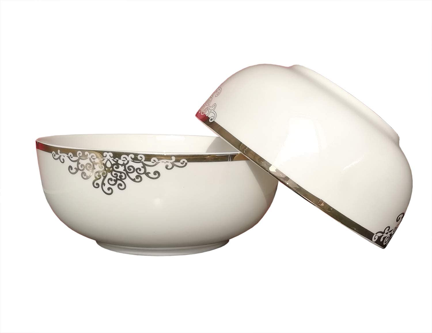 AnnoCasa 2 pieces Thin /& Lightweight Bone China Large Bowls Cheese 7 inches White with Red Rose for Fruit Vegetables Salad Bowl