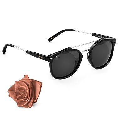 Aiblii Black Retro UV400 Occhiali da sole unisex polarizzati - Wayfarer Occhiali  da sole polarizzati per f33ad6a91c