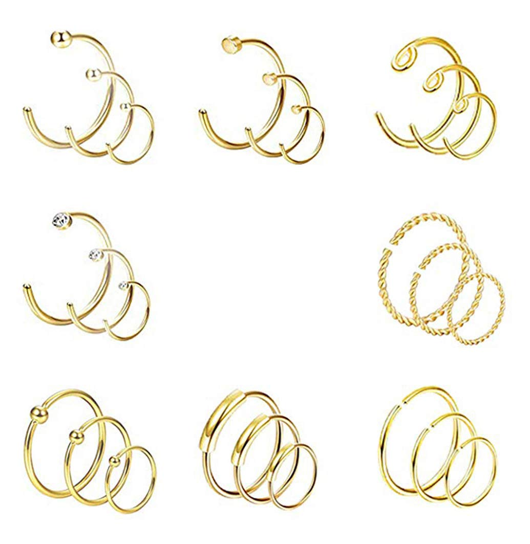 YOVORO 24PCS 20G Stainless Steel Nose Rings Hoop Cartilage Helix Tragus Piercing Body Jewelry g by YOVORO