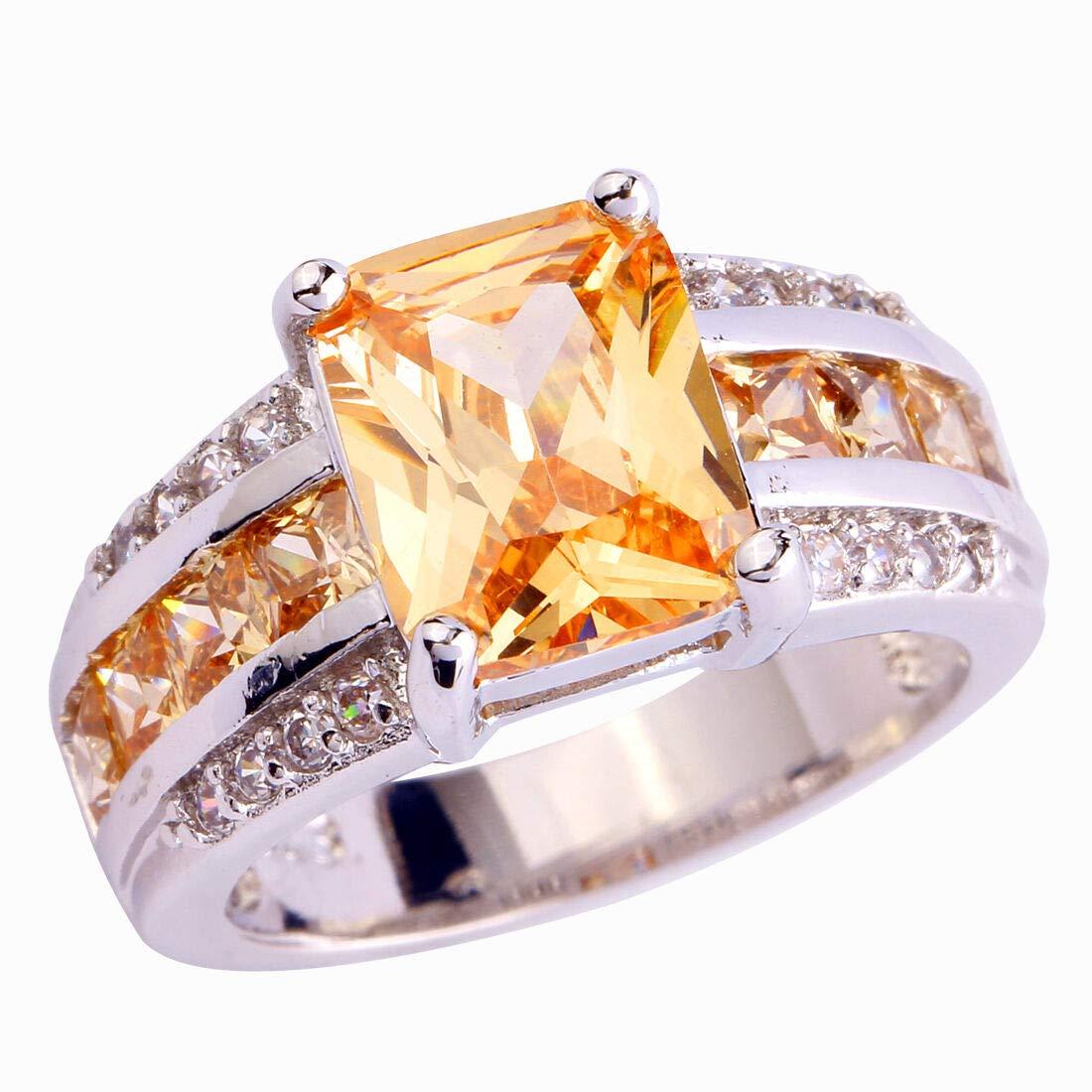 9 The Sun Jewelry Morganite White Topaz Gemstone Fashion Jewelry Women Silver Ring Size 7 8 9 10