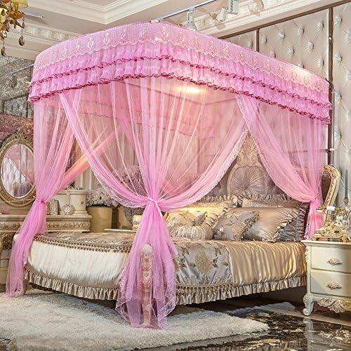姫ベッドキャノピー,暗号化糸蚊帳 引き込み式 ヨーロッパコート ラグジュアリー ベッド キャノピー の-形 ベッド カーテン-ピンク