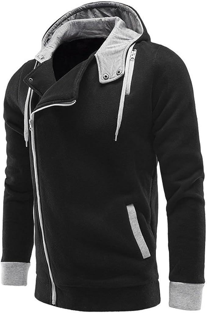 Mlotus Mens Casual Fashion Slim Fit Hoodie Zip-Up Autumn Fleece Jacket Cardigan