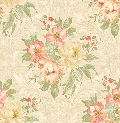 Floral Wallpaper in Cream Gold Green ()