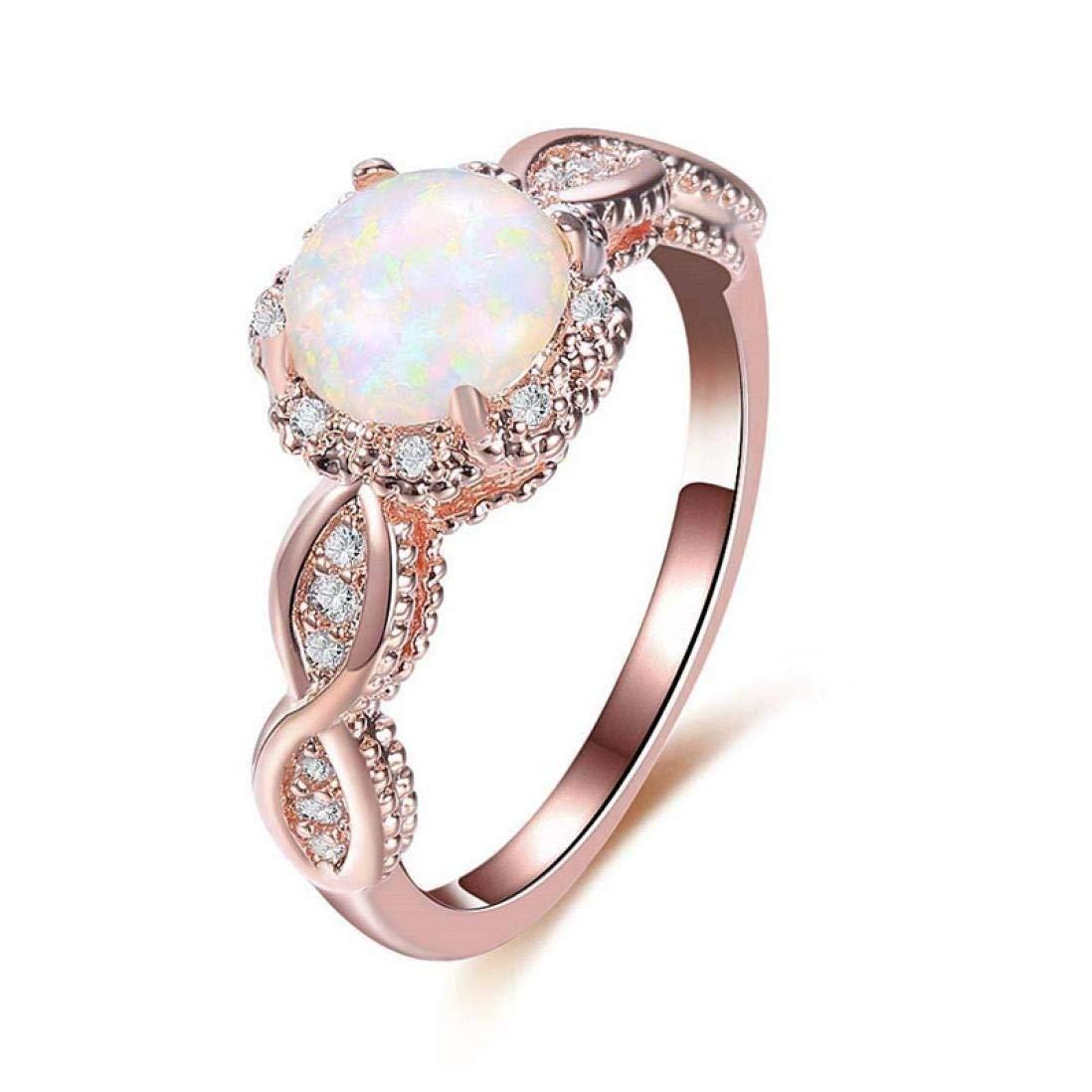 JONERISE 14K Rose Gold Opal Ring Wedding Filled Engagement Promise Rings for Women Beautyhomer